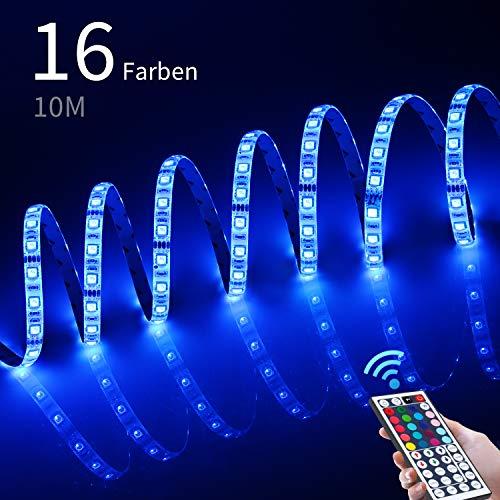 10M LED Streifen 5050 RGB,LED Lichtband Wasserdicht IP65,LED-Strip Memory Funktion mit 44 Tasten IR Fernbedienung, 300 LEDs Lichtleisten Farbwechsel Dimmbar für Haushalt Küche Schrank Dekoration