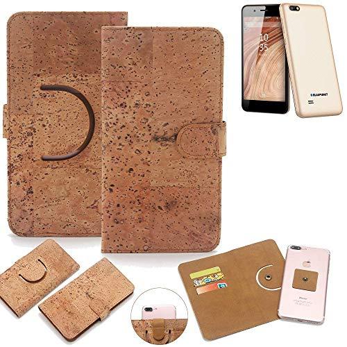 K-S-Trade Schutz Hülle für Blaupunkt SL 04 Handyhülle Kork Handy Tasche Korkhülle Schutzhülle Handytasche Wallet Case Walletcase Flip Cover Smartphone