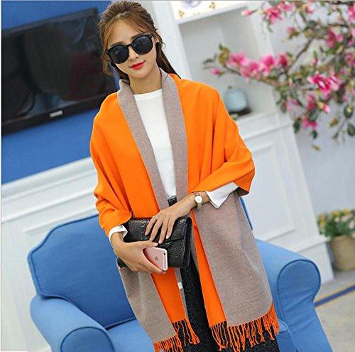 HSDMF grande sciarpa scialle moda donna imitazione cashmere con frange Versione calda a doppio strato più spessa , yellow orange