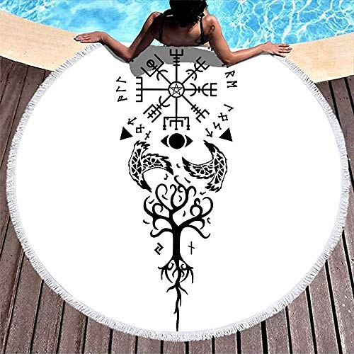Leo-Shop Baum des Lebens Zwei Raben Vegv & iacute; Sir Runes Totem Viking Yggdrasil NorsePrintRound Beach TowelTribal RoundBeach Throw