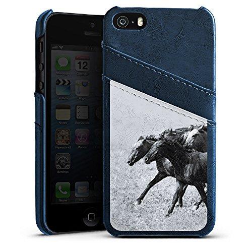 Apple iPhone 5s Housse Étui Protection Coque Chevaux Cheval Mustang Étui en cuir bleu marine