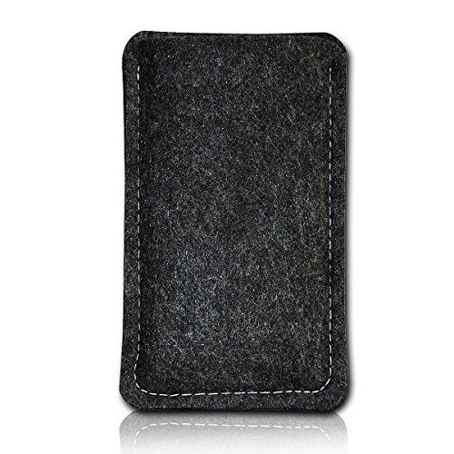 Filz Style Wiko Riff Premium Filz Handy Tasche Hülle Etui passgenau für Wiko Riff - Farbe schwarz - grau