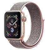ANBEY für Apple Watch Armband 38mm 40mm 42mm 44mm, Geeignet für iWatch Apple Watch Serie 4, Serie 3, Serie 2, Serie 1, Nylon Sportschlaufenband Ersatzarmband Grey pink 38/40mm