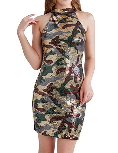 Nlife Abito slim aderente senza maniche con paillettes mimetiche camouflage apricot