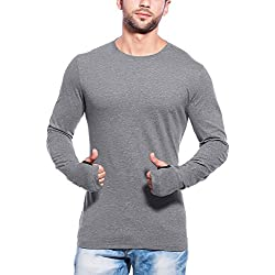 Maniac Mens Fullsleeve Round Neck Dark Grey Cotton Tshirt