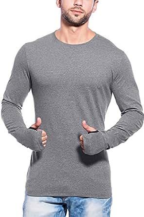 Maniac Men's Plain Slim Fit T-Shirt (ML-MENSS17-FS-RNCK-DGREY-THUMB-RING_Small)