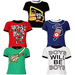 Goodway Junior Boys 5 Pack Attitude-2 Printed Combo Pack of 5 T-Shirts - 3-4 Years