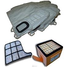Mister Vac A901 - Bolsas de tela, 6 unidades, filtro HEPA, filtro de carbón y filtro de protección del motor para Vorwerk Kobold 135, 136
