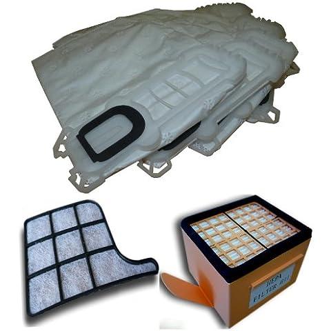 Mister Vac A901 - Bolsas de tela, 6 unidades, filtro HEPA, filtro de carbón y filtro de protección del motor para Vorwerk Kobold 135,