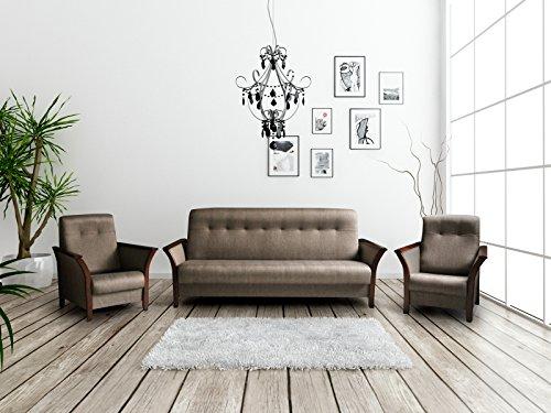 Polstergarnitur Sofa mit Schlaffunktion und Bettkasten 3er Schlafsofa und zwei Sessel Wohnlandschaft 3-Sitzer Möbel Set - BARBADOS (Braun)