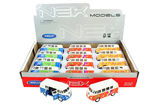 Welly VW Bus T1Flower Power, Juguete Front, Metal Auto, Juguete (Naranja)