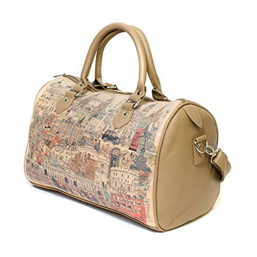 Borsa a spalla stile Vintage London City, Marrone Chiaro Marrone chiaro