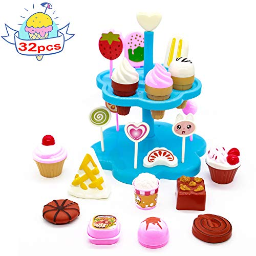 yoptote Role Play Toy DIY Desserts Toy Ice Cream Cone Set Pretend Play Set Food Toys House Toys for Children Girls Aged 3 and Up (32 PCS)