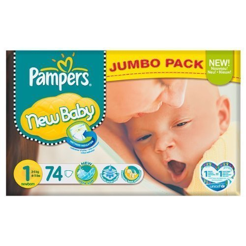 Pampers New Baby Größe 1 (2-5kg) Jumbo Pack 74 pro Packung