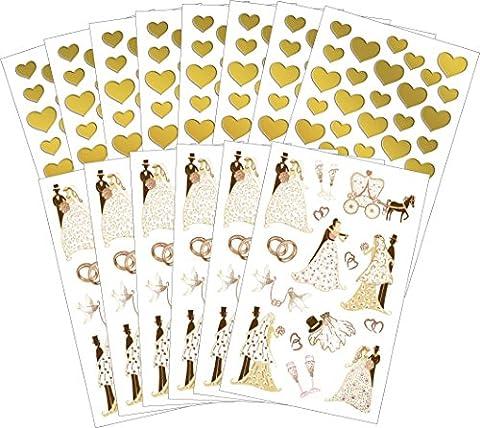 Avery Zweckform 58225 Hochzeit Sticker Set Brautpaar (Vorteils-Pack) 402 Aufkleber gold