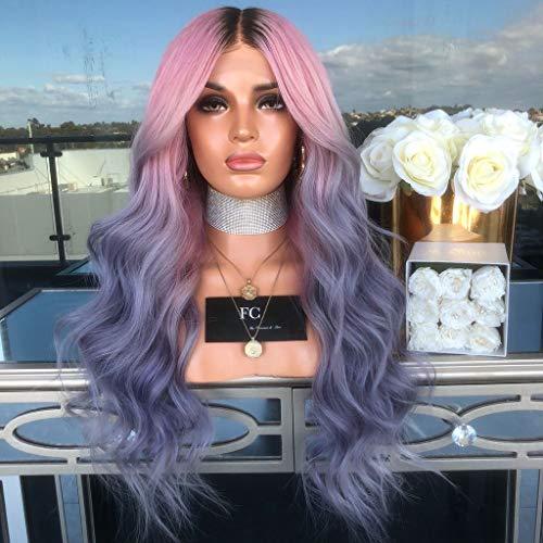 amenLange Lockige Gerade Gewellte Synthetische Volle Haarperücke Rosa Purpur Cosplay ()