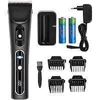 Cortapelos eléctrico/ electrónico silencioso para pelo - máquilla de cortar pelo y barba inalámbrico con ajustable cuchilla - recortadora y afeitadora con LED pantalla/ 4 peines/ 2 pilas Litio recargables