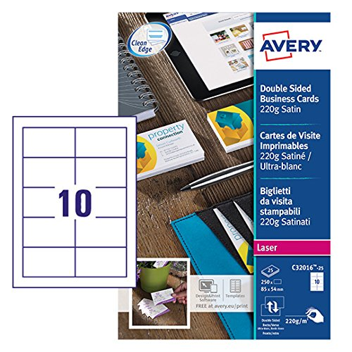 Avery italia c32016-25 biglietto da visita, stampabile fronte/retro, 10 biglietti per foglio, confezione da 25 pezzi, bianco