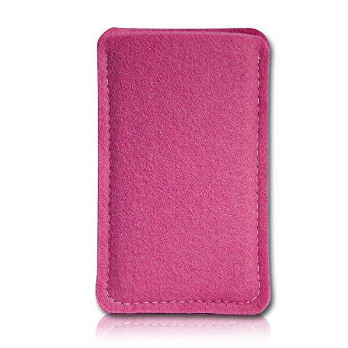 Filz Style Apple Iphone 5 / 5S / 5C Premium Filz Handy Tasche Hülle Etui passgenau für Apple Iphone 5 / 5S / 5C - Farbe dunkelblau pink