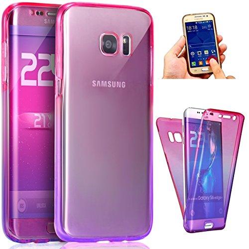 Coque Galaxy S7 Edge,ikasus Intégral 360 Degres avant + arrière Full Body Protection Couleur de dégradé Transparente Silicone Gel TPU Souple Housse Etui Case Coque pour Galaxy S7 Edge,Rose Violet