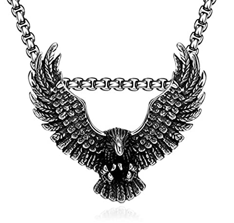 XYLUCKY Men's 316L Stainless Steel eagle Pendant Necklace 60cm