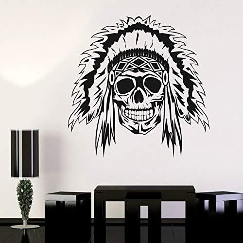 Indian Chief Schädel Halloween Poker Aufkleber Punk Tod Aufkleber Teufel Name Auto Kunst Wandtattoos Parede Decor 58 * 58 cm (Party Halloween Poker)