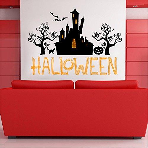 os Wandbilder Halloween frequentierte Kürbis-Gesicht PVC-entfernbare Wohnzimmerschlafzimmer-Hintergrundgrün-dekorative Aufkleber, 58 * 80CM ()