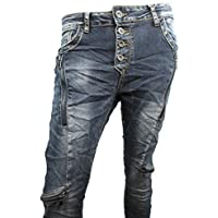 Zip Denim Elasticizzato Jeans Baggy boyfriend oblique Cuciture 4Bottoni aperto fronte doppia zip