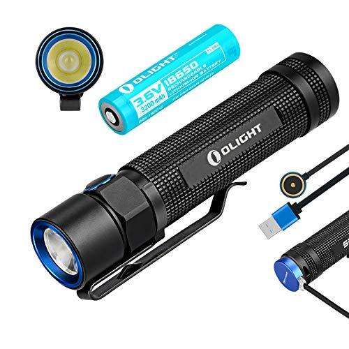 Olight S2R BATON Tragbare Taschenlampe 1020 Lumen Cree XM-L2 LED Magnetic MCC USB aufladbar Taschenlampen für draussen camping, mit 18650 Batterie + Tidusky Batteriekasten -