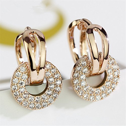 Stayeal Circle Paved Zircon Stone Crystals Loop Hoop Earrings for Women Jewelry