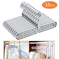 Emooqi Space-Saving Hangers, 10 Pack Multifunction Hangers/Magic Clothes Hanger,Innovative Design Foldable Storage Coat Hangers with 9 Holes,360º Swivel for Drying,Storage,University,Family,Apartment