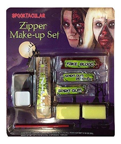 ts Zombie Vampire Devil Complete Make Up Sets in One Listing (Zombie Zipper Make-up Kit) by FNA Fashions (Halloween-make-up Spirit Gum)