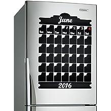 (55x 80cm.) Mensual pizarra Vinilo Adhesivo de Pared/Pizarra, borrable Art Decor Mural/Calendario Planificador Adhesivo para dibujar + Free Crayons Caja
