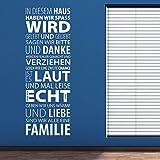 Wandtattoo In diesem Haus haben wir Spaß, wird gelebt und geliebt sagen wir bitte und danke, sind wir alle eine Familie | Farbe braun, Größe 42x120cm