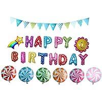 Somore foglio di alluminio Film Palloncini a forma di Happy BIRTHDAY, caramella del lollipop, girasole, arcobaleno per le forniture decorazione del