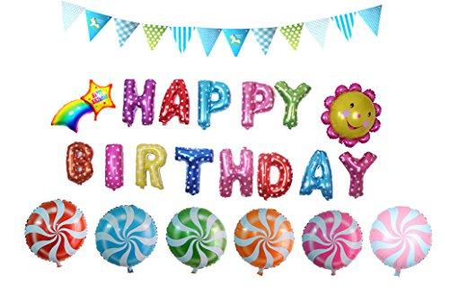 Preisvergleich Produktbild Somore Party Luftballons Set - inklusiv die Ballons mit Geformte von HAPPY BIRTHDAY Buchstaben, Sonnenblume, Regenbogen, Lutscher, Fahne dreieckig Banner für Partei Dekoration