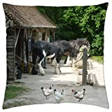 Working Shire Horses 1 - Throw Pillow Cover Case (18' x 18')