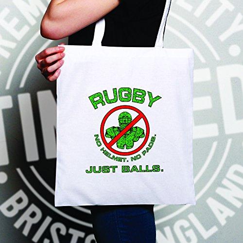 Rugby, casco, nessun pad, Just Balls coraggiosi Sports Pub Banter Sacchetto Di Tote Natural