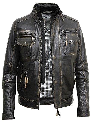 BRANDSLOCK Vintage Mens Alle Bikerjacke aus Leder Vintage Washed Schwarz Biker Stil Crinkle Retro (3XL, SCHWARZ) -