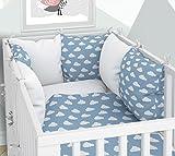 3pezzi set: Baby biancheria da letto di 100x 135cm con paracolpi–Lenzuolo con angoli e federa sei Copri Cuscino di velluto per il lettino 70x 140cm