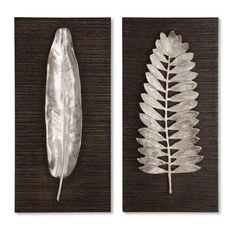 Leaf Wall Plaque (Set of 2 Brushed Aluminum Leaves Distressed Dark Ebony Finish Wall Plaques 24 by Diva At Home)