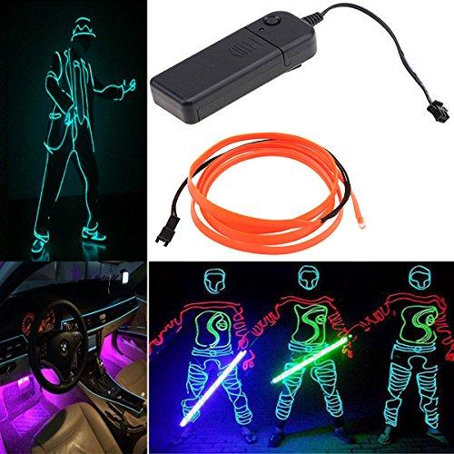 Possbay EL Draht Leuchten Neon Beleuchtung Mit Konverter fuer Weihnachtsfeiern Halloween Kostuem Hochzeit 4M