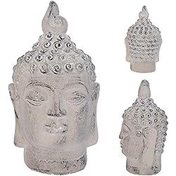 Clayre & Eef 6te0086m decorativa Decoración figura cabeza de Buda gris 13x 12x 24cm