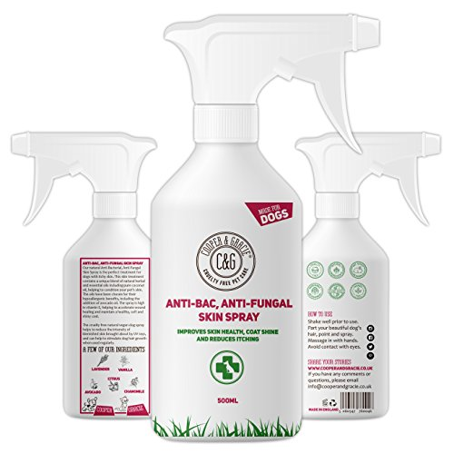Cooper And Gracie C&G Cruelty free Pet Care Antibacterial Anti Fungal Dog Spray | Ringworm Dogs Disinfectant | Animal Skin Cuts Wounds 500ml