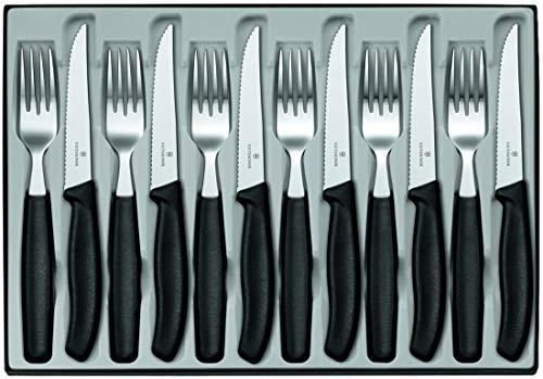Victorinox Swiss Classic 12-tlg. Besteck Set, für 6 Personen, 6 x Steakmesser, 6 x Tafelgabel, Spülmaschinengeeignet, schwarz Victorinox Steak-set