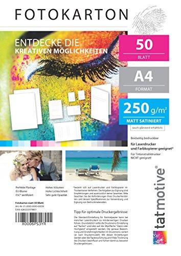 fotopapier matt a4 TATMOTIVE F01M50 Fotokarton Fotopapier 250g matt weiß/Laserdrucker / DIN A4 / Beidseitig bedruckbar / 50 Blatt