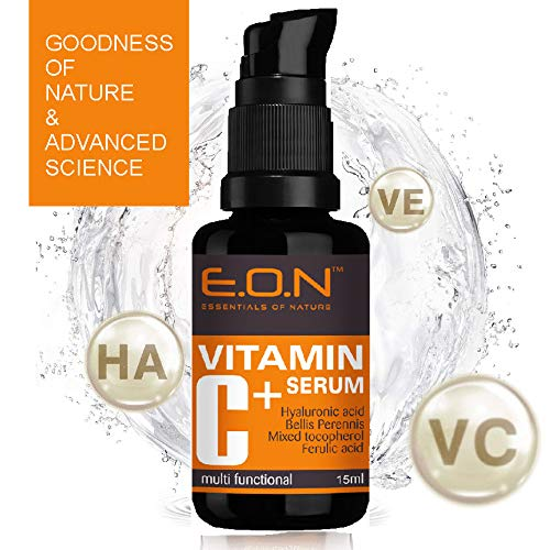EON Vitamin C serum with Hyaluronic acid, Ferulic acid & Mixed tocopherols - Anti wrinkle, Anti aging, Dark circles, Age spots, Pigmentation 15ml