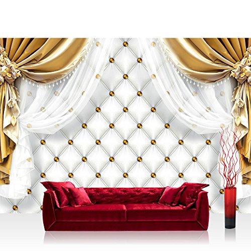 Fototapete 368x254 cm PREMIUM Wand Foto Tapete Wand Bild Papiertapete - Ornamente Tapete Gardine Vorhang Bordüre Blumen gold - no. 2052