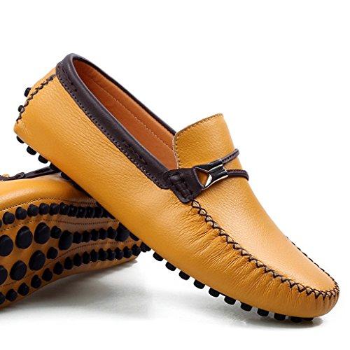 Men's Minitoo Chic en cuir à bout rond Loafers Chaussures bateau de conduite Jaune - jaune