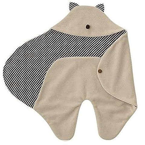 Tinksky Dessin animé multifonctions molleton bébé emmailloter bébé couverture Wrap poussette sac de couchage